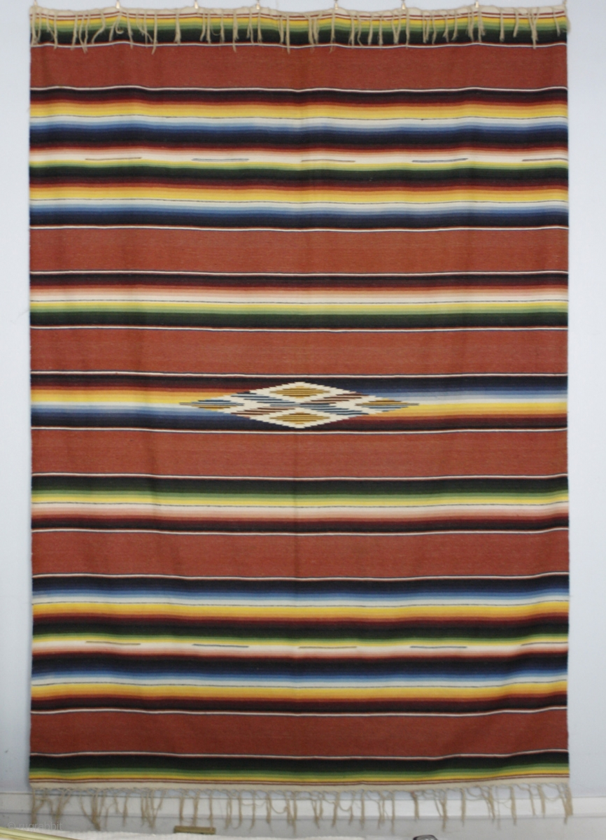 This Traditional Mexican Serape Textile Measures 64 X 84 Inches Fibers Are Cotton And Fine