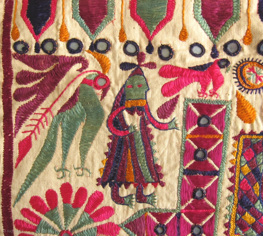 Antique Folk Art Embroidered Textiles From Gujarat India