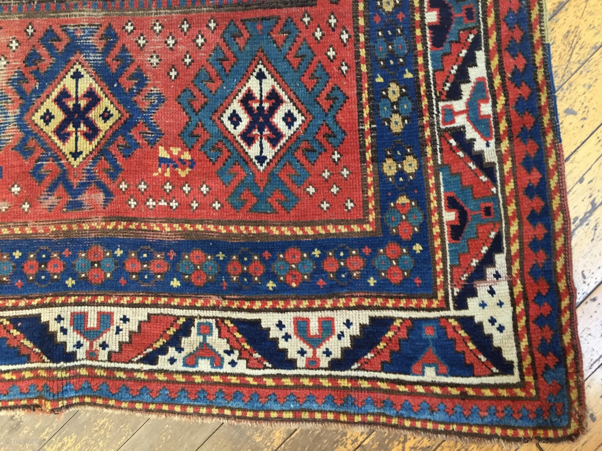 Antique Large Kazak Rug Unusual And Bold Design As Found