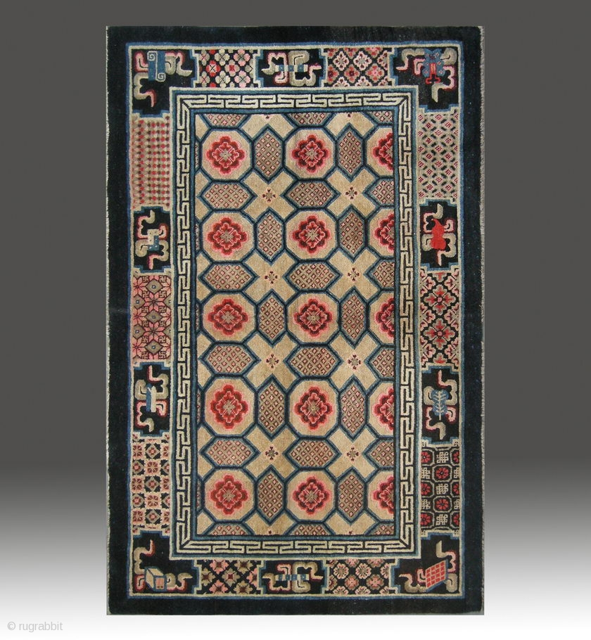 """No.M09 * Chinese Antique """"Turtle Back Design"""" Rug , Age"""