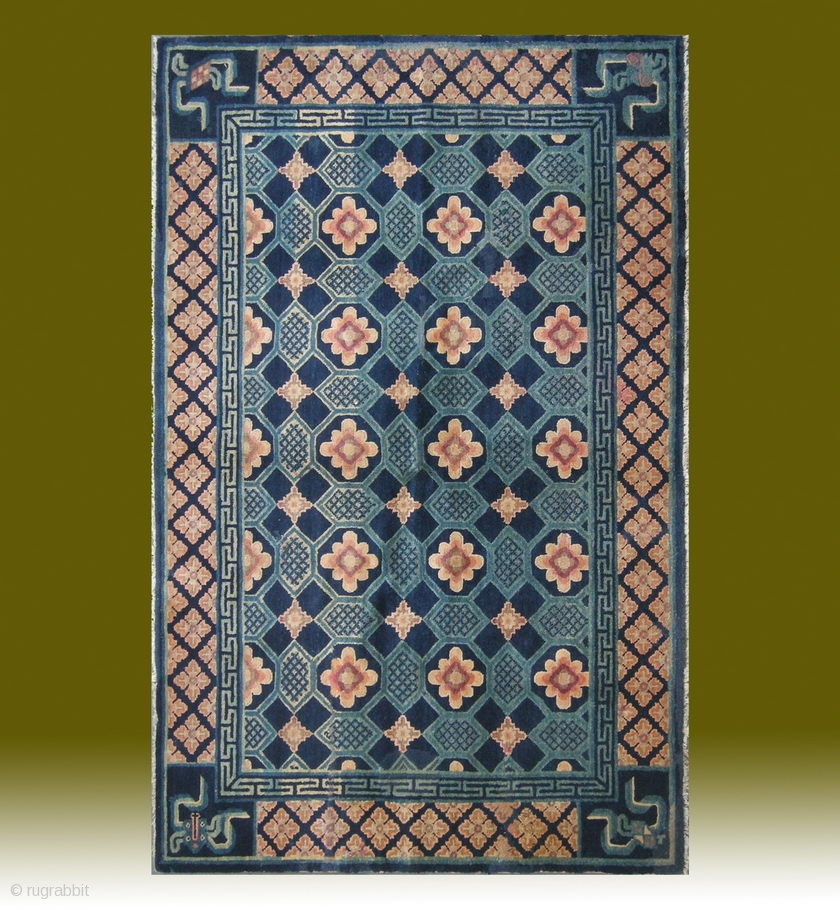 """No.CL044 * Chinese Antique """"Turtle Back Design"""" Rug. Age"""