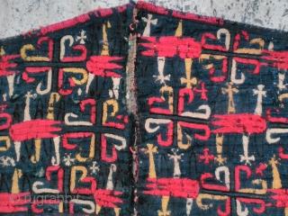 Turkmen Silk embroidery fragment size 86cm x 20cm from 19. Century