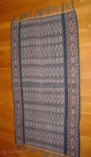 Savu Shawl; Eastern Indonesia: Ikat; Rough Cotton: Deeply saturated dyes. Fine Condition. Mid 20th Century
