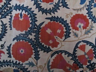 """Bokhara Suzani 2.46m x 1.59m (8'1"""" x 5'2""""), circa 1850 or earlier. Beautiful quality, very good condition. Original lining intact. SOLD -Thanks."""
