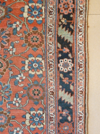 "Mina Khani Design Bidjar kellei, 19th century, 3.56m x 1.70m, 11'9"" x 5'6"". Very good colour, especially the terracotta background, yellows, light blues and abrashed green. Crisply drawn and well-spaced design. Woollen  ..."