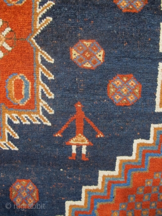 """Antique Afshar Rug 1.60m x 1.36m (5'3"""" x 4'6""""), beautiful colours and archaic features. Generally very good condition, with some minor corrosion in the blue field."""