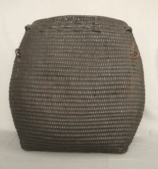 """South East Asia: Magnificent all rattan hand woven Rawang """"san phi"""" basket, from the remote Putao area, Northern Burma near the Tibetan border. This one is quite old circa 50- 80 years,  ..."""