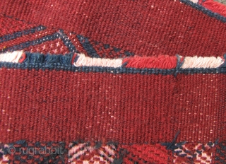 Kachin Skirt: Rare woman's skirt (pukhang) from the Kachin/Jingpo ethnic group, Northeast Burma. This is two panels with supplementary weft trim on the ends made of dog hair. Mostly natural dye and  ...