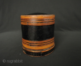 """Karen Betel Container: Very fine lacquer """"siri"""" box from the Karen ethnic group in Northern Thailand. This has thick application of black lacquer and a fine naturally aged patina- circa 50 to  ..."""