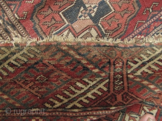 "Good Turkmen Tekke ""Bukhara"" carpet. This piece has a few tiny holes that can't be seen when lying on the floor and minor repairs. The kilim head ends are missing but over  ..."