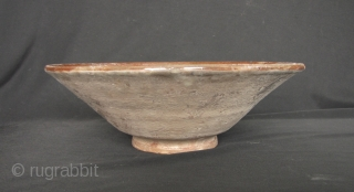 Nishapur Bowl: Large early Islamic Central Asian, Persian polychrome pottery bowl decorated with central, antelope, foliate scrolls and cobalt splashes on the rim decorations - Circa 9/10th CE. Outstanding condition with just  ...
