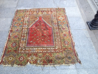 Antique Anatolian Fragment Mucur Carpet Great Colors and quality nice piece Size 155x125