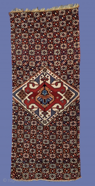 Qashqa'i Darreshouri small rug, possibly a pillow cover, Doesn't seem to be a fragment!  Wool pile on wool foundation, very finely knotted (asymmetrical knot), 99x40 cm. Eary 20th c., good colors!