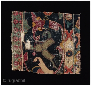 A small collection of 17th century Safavid carpet fragments woven in the 'Vase' technique. Each from different carpets, offering an overview of specific Vase carpet patterns, both for field as well as  ...