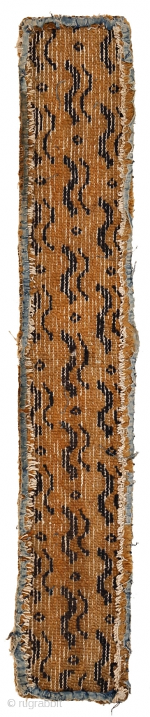 """http://www.rugrabbit.com/content/hunting-and-gathering-china-tibet-and-east-turkestan       Part of our online exhibition, """"Hunting and Gathering: China, Tibet, and East Turkestan""""  Fragment with tiger and leopard pelt pattern  Beijing Northern China Ming Dynasty 16th Century 120 x 20 cm  ..."""