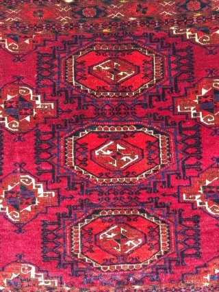 Large and fat Saryk chuval. Crisp drawing, very good condition, tightly woven, cracked along one warp for about an inch. Size 60.6 x 32.3 inch (154 x 82 cm).