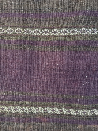 Baluch complete half khorjin. Very good colors, front good condition, some wear upper third, kilim back distressed. Original closure system. Nice filler motifs in the left side. Some fuchsine knots in the  ...