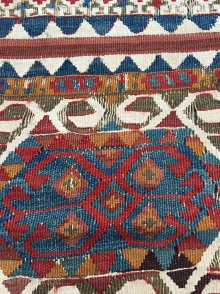Malatya kilim, nice and old, first half 19th century. Excellent colors, many interesting details in the free flowing drawing. White is cotton. Some wear, good condition for the age. Size 141.3 x  ...