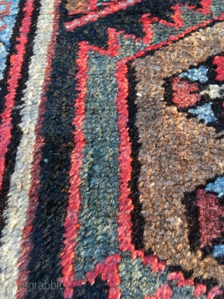 Excellent Hamadan with rare border. Outstanding proportions and color. Light brown is natural camel wool. Beautiful condition. Kilim ends need securing. Size 79.5 x 56.7 inch (202 x 144 cm).Attractive price.