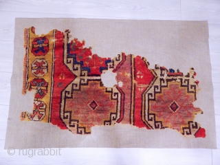 Antique Anatolian Cappadocia Rug Fragment Professional Mounted