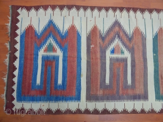 Old Anatolian Karapınar Saf Kilim (age maxsimum 100 years old Bleu and green and Purple  change )