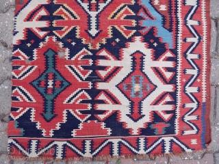 Antique Caucasian Kuba Sirvan Fragment Kilim