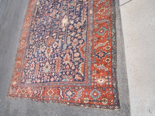 """nice antique blue field heriz rug measuring 8' 11"""" x 11' 9"""" good condition few worn spot great border design clean no dry rot very solid beautiful colors.  SOLDDDDDDDDDDDDDDDDDDDDDDDDDDDDDDDDDDDD"""