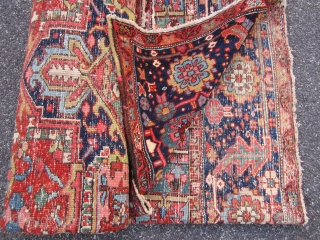 "nice old heriz rug measuring 8' 10"" x 11' 7"" great colors very good condition some wear very clean 1375 plus shipping ON HOLD