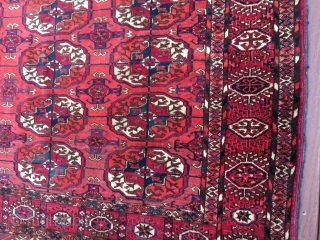 """measures 4' x 5' 8"""" great drawing very nice condition super clean no issue turkoman tekke rug."""