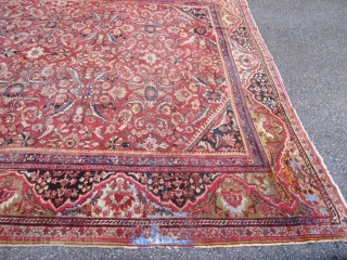 "solid antique mahal rug measuring 10' 5"" x 13' 5"" nice colors no dry rot clean rug some moth damage and one corner damage as shown cheap SOLDDDDDDDDDDDDDDDDDDD"