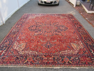 """nice old heriz karaja rug measures 9' 4"""" x 11' 7"""" very good condition couple of minor low spot and few loose selvage no animal or smoke ends are fine nice colors  ..."""