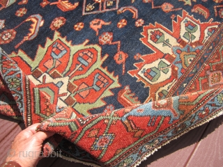 """great antique karajeh karaja rug measuring very good size of 4' 10"""" x 6' 7"""" very good condition even low pile nice border design rare drawing.SOLD THANKS"""