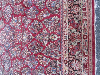 """nice old persian sarouk great size 8' 2"""" x 10' 4"""" full pile no dry roots  nice colors 595 plus shipping great value SOLD THANKS"""