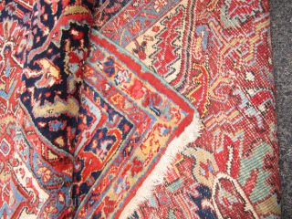 """estate antique heriz serapi(SOLD SOLD) 9' x 12' 8"""" super rare design full pile as shown on the whole rug one side moth issue as shown 7"""" x 55"""" otherwise perfect has  ..."""