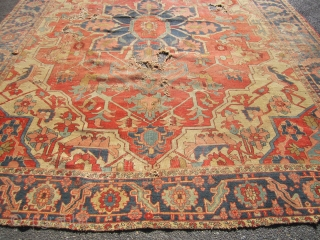 "beautiful serapi heriz rug 9' 7"" x 12' beautiful colors no dry rot poor condition as shown holes and wear no pets and no smoke. SOLDDDDDDDDDDDDDDDDDD"