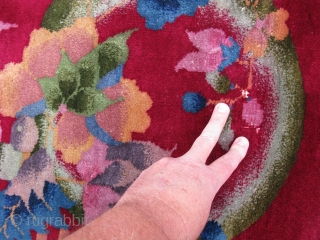 Art Deco Chinese rug, hand knotted wool, China, ca.1930's, cherry red with five circular rainbows and floral clusters, this rug is thick and heavy, but does have some white dots showing, the  ...