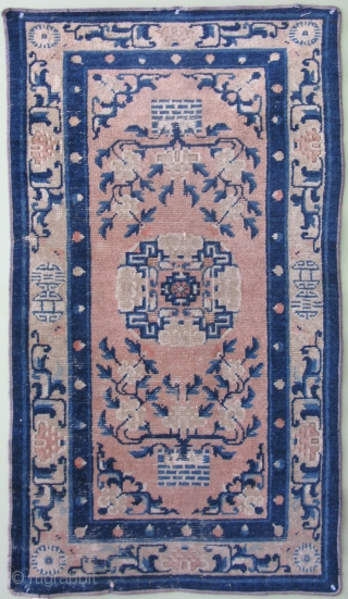 Antique Chinese Ningxia rug, Ninghsia,the 5 ply cotton warps appear to be hand spun, and the rug likely dates prior to 1860, Ching Dynasty, the rug still looks pretty hanging on the  ...