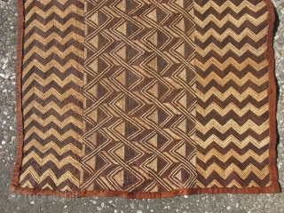 African Kuba raffia cloth, hand woven palm fiber, all flat stitch embroidery, vintage, Congo, Kuba people ( Shoowa ), some staining, the sides are not perfectly straight, but it is in general  ...
