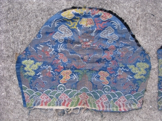 Antique Chinese silk and metal thread brocade, central mountains surmounted by a front facing 5 claw Dragon of heaven, Long, guarding a flaming pearl, and flanked by 4 five claw dragons in  ...