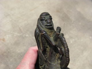 Antique bronze African equestrian figure, hand cast, Dogon People of Mali, 1st quarter 20thC?, general good condition with heavy patination, the approximate size is 6.25 inches tall x 4.25 inches wide, #2045