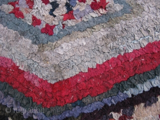 Antique American Folk Art shirred rug, hand made, USA, ca.1920?, but has 19thC fabrics, the technique is called caterpillar shirring, a graphic geometric design of concentric multi colored diamonds, it is made  ...