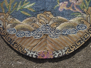 Antique Chinese insignia badge with red sun on right, hand embroidered silk and metal threads, ca.1900, an average of 32 stiches per linear inch, over 1000 stiches per square inch, late Ching  ...