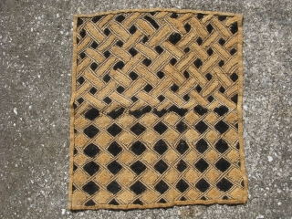 African Kuba raffia cloth, hand woven palm fiber, cut-loop pile embroidery and flat stitch embroidery, the technique produces what is known as kasai velvet, vintage, Congo, Kuba people ( Shoowa ), some  ...