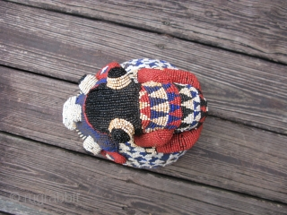 African beaded helmet mask, Bamileke People of Cameroon, polychrome glass beads, fabric, well made and solid, soiling, wear, some bead loss, the approximate size is 10in x 10in, #7775, shipping is extra