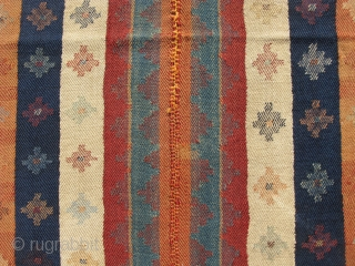 Qashqai or Luri cover, jajim, Tom Cruise, hand woven wool on wool twill tapestry weave, SW Iran ca. 2nd Qtr 20thC, original selvages and beautiful end finish, good condition, woven in 2  ...