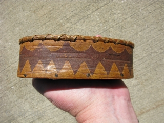 Antique Native American Eastern Algonkian birch bark box, container, hand made, rim decorated with sweet grass and sewn with conifer root, secured with small nails, geometric design in negative etching, Passamaquoddy or  ...
