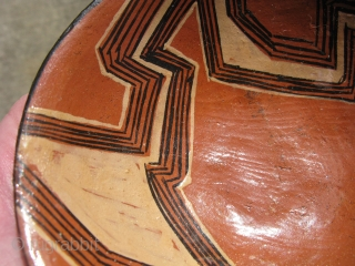 Vintage Mucahua pottery bowl for Chi Cha drink, Quichua Indians, ( Kichwa Indians ), Ecuador, Amazon Rainforest, fine line hand painting, lacquered with tree resin, I bought this from a woman she  ...