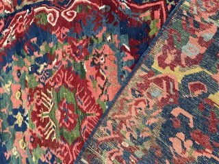 Superb wacky Seichour rug. Fabulous colour and design. Excellent condition for age. Couple of small bits of wear but overall stunning. Larger than usual format. 290 by 135cm