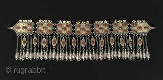 Central-Asian Antique Turkmen - Tekke traditional silver headpiece fine fire gilded with cornalian original ethnic tribal jewelry. Turkmen old silver tassel pediment. This is a collector piece. Great condition ! Circa -  ...