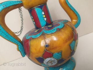 A beautifull from Nepal all of handcrafted with stone (Lapis-Luzely, Coral, Turquoise, Amber-Katalin ) pitcher Very fine condition Circa-1950-70 Size - Height : 33cm - Width : 25cm  Thank you for  ...